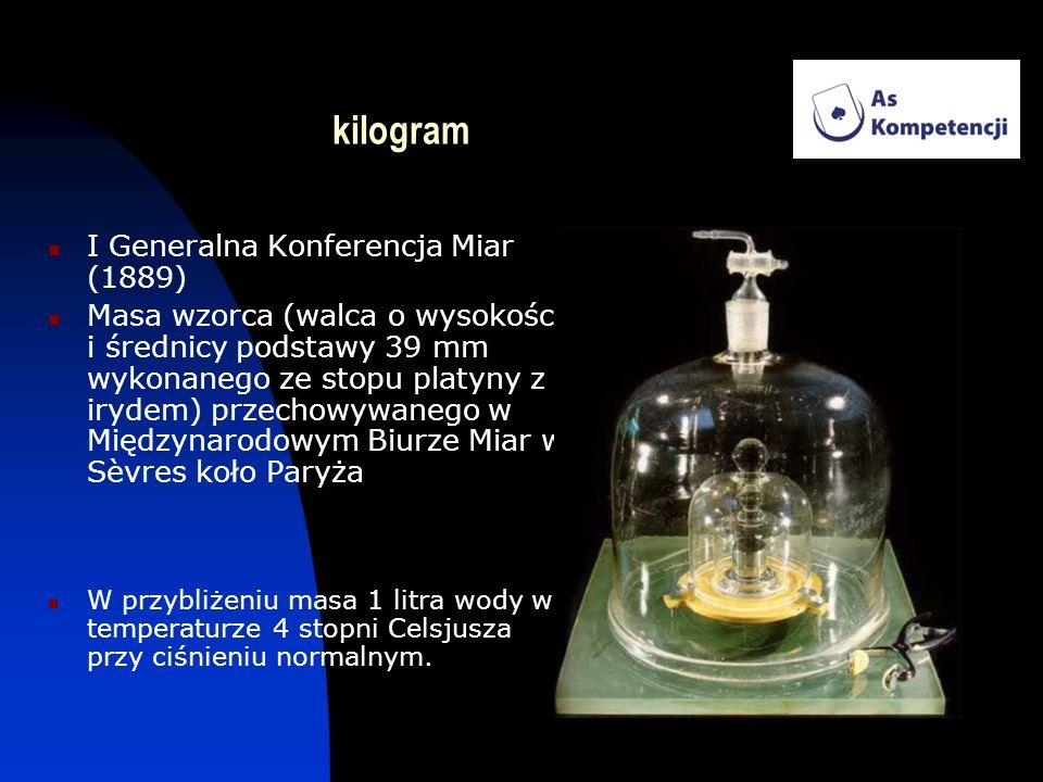 kilogram I Generalna Konferencja Miar (1889) Masa wzorca (walca o wysokości i średnicy podstawy 39 mm wykonanego ze stopu platyny z irydem) przechowyw