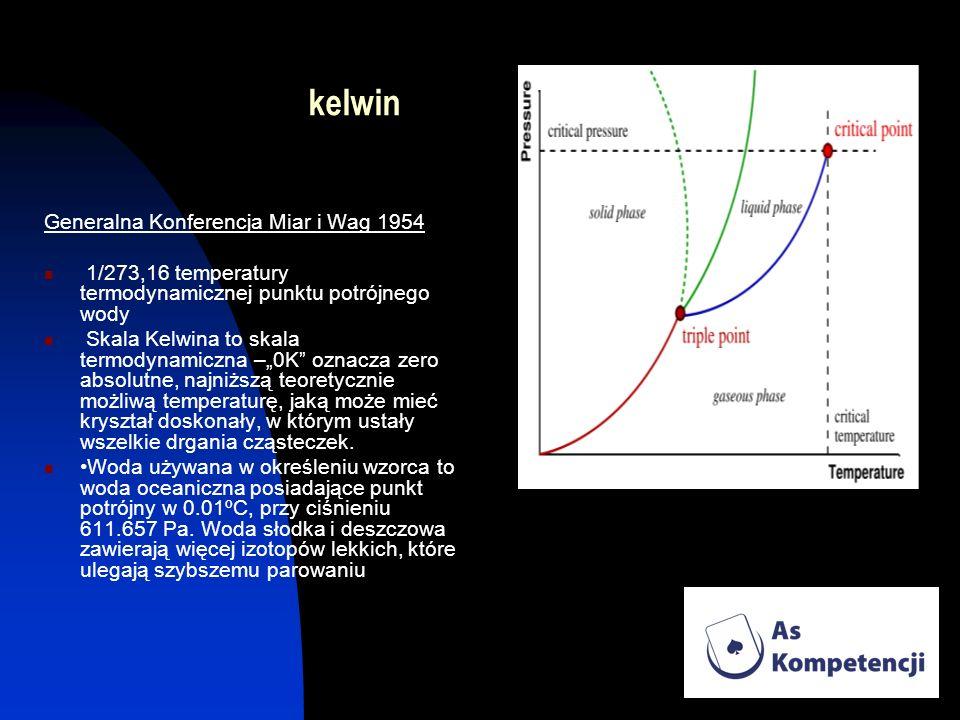 kelwin Generalna Konferencja Miar i Wag 1954 1/273,16 temperatury termodynamicznej punktu potrójnego wody Skala Kelwina to skala termodynamiczna –0K o
