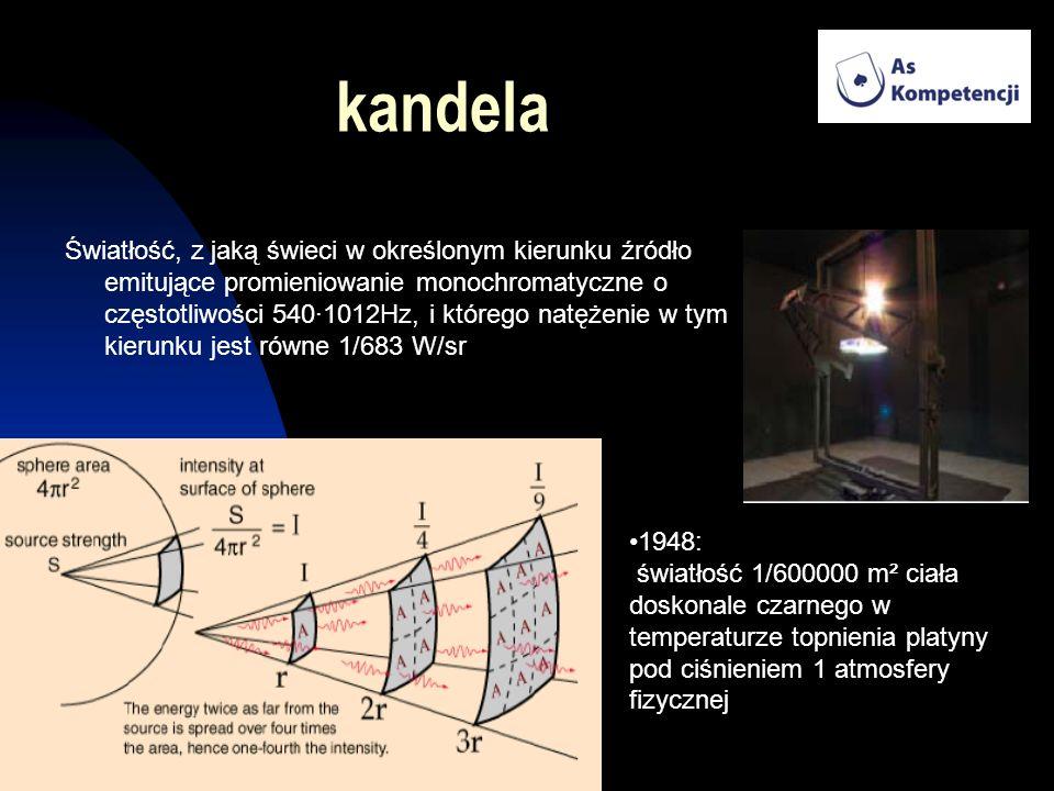 kandela Światłość, z jaką świeci w określonym kierunku źródło emitujące promieniowanie monochromatyczne o częstotliwości 540·1012Hz, i którego natężen