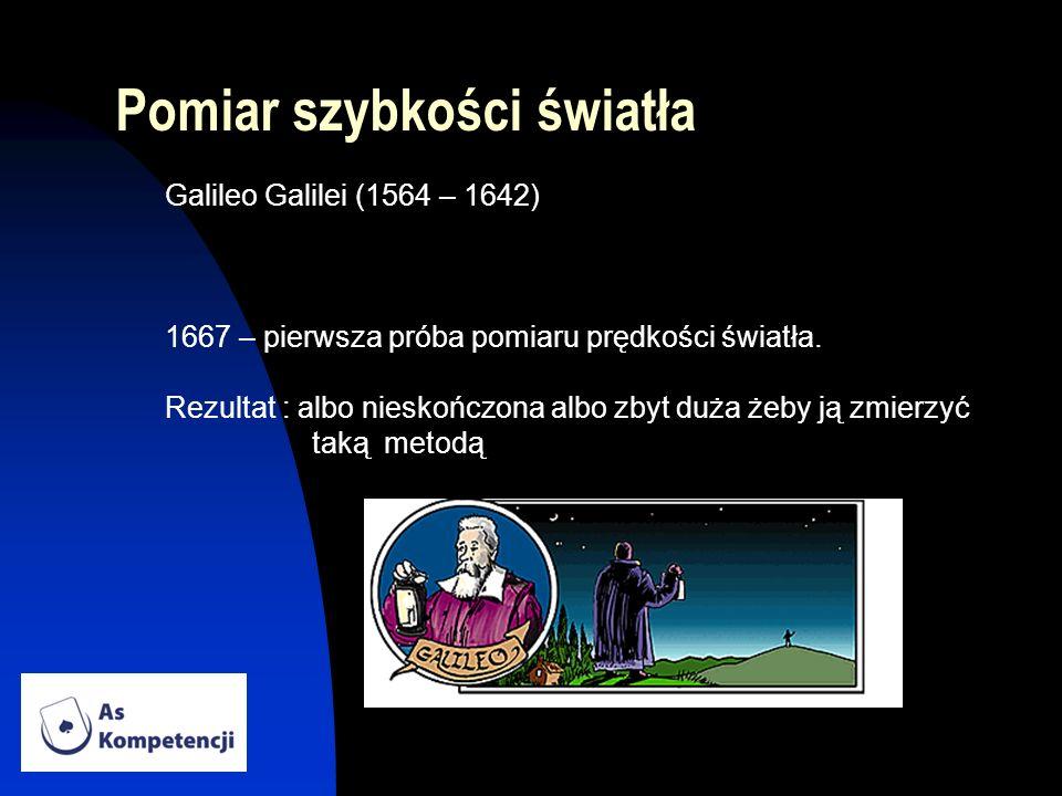Pomiar szybkości światła Galileo Galilei (1564 – 1642) 1667 – pierwsza próba pomiaru prędkości światła. Rezultat : albo nieskończona albo zbyt duża że