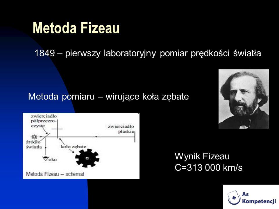 Metoda Fizeau Metoda pomiaru – wirujące koła zębate 1849 – pierwszy laboratoryjny pomiar prędkości światła Wynik Fizeau C=313 000 km/s
