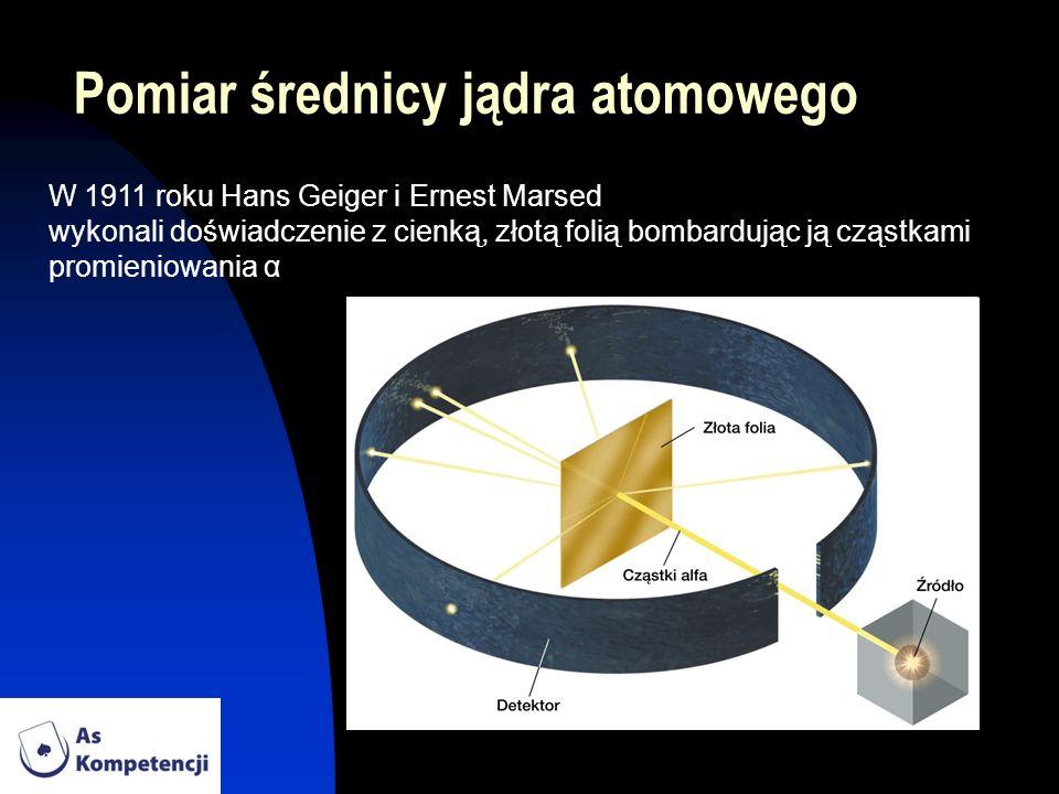 Pomiar średnicy jądra atomowego W 1911 roku Hans Geiger i Ernest Marsed wykonali doświadczenie z cienką, złotą folią bombardując ją cząstkami promieni