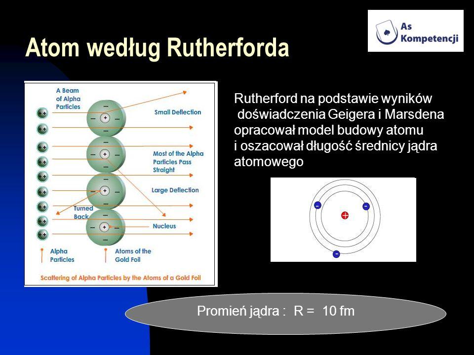 Atom według Rutherforda Rutherford na podstawie wyników doświadczenia Geigera i Marsdena opracował model budowy atomu i oszacował długość średnicy jąd