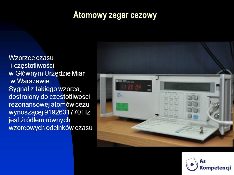 Atomowy zegar cezowy Wzorzec czasu i częstotliwości w Głównym Urzędzie Miar w Warszawie. Sygnał z takiego wzorca, dostrojony do częstotliwości rezonan