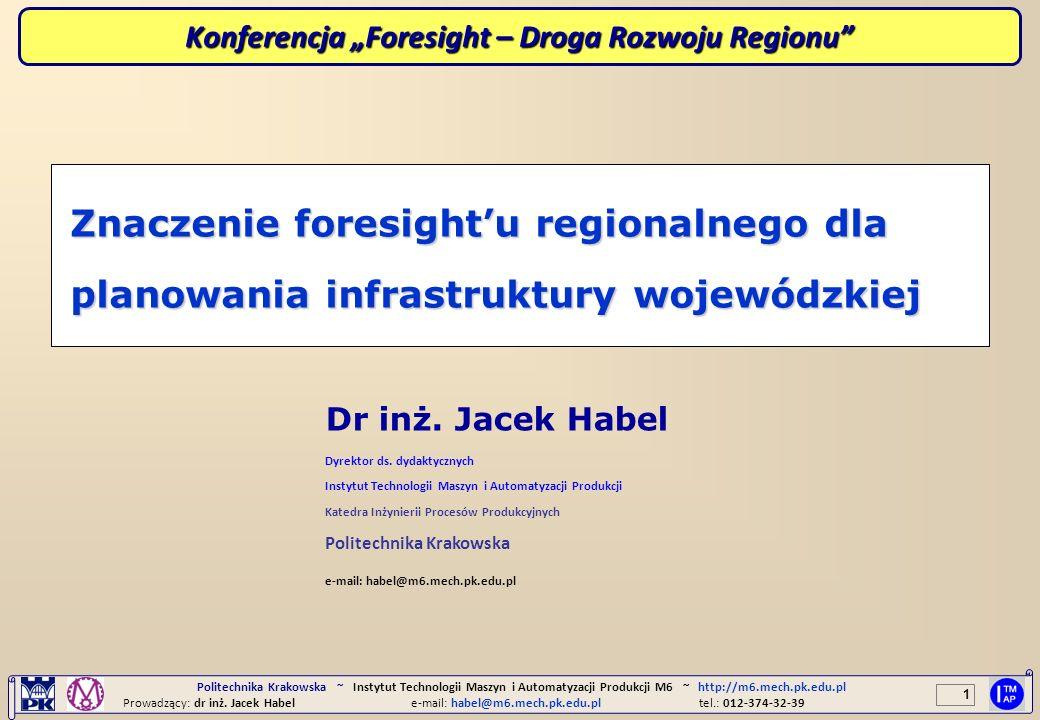 1 Politechnika Krakowska ~ Instytut Technologii Maszyn i Automatyzacji Produkcji M6 ~ http://m6.mech.pk.edu.pl Prowadzący: dr inż. Jacek Habele-mail: