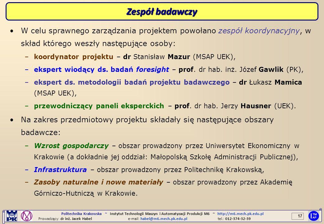 17 Politechnika Krakowska ~ Instytut Technologii Maszyn i Automatyzacji Produkcji M6 ~ http://m6.mech.pk.edu.pl Prowadzący: dr inż. Jacek Habele-mail: