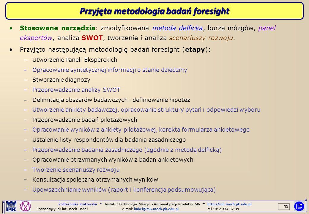 19 Politechnika Krakowska ~ Instytut Technologii Maszyn i Automatyzacji Produkcji M6 ~ http://m6.mech.pk.edu.pl Prowadzący: dr inż. Jacek Habele-mail: