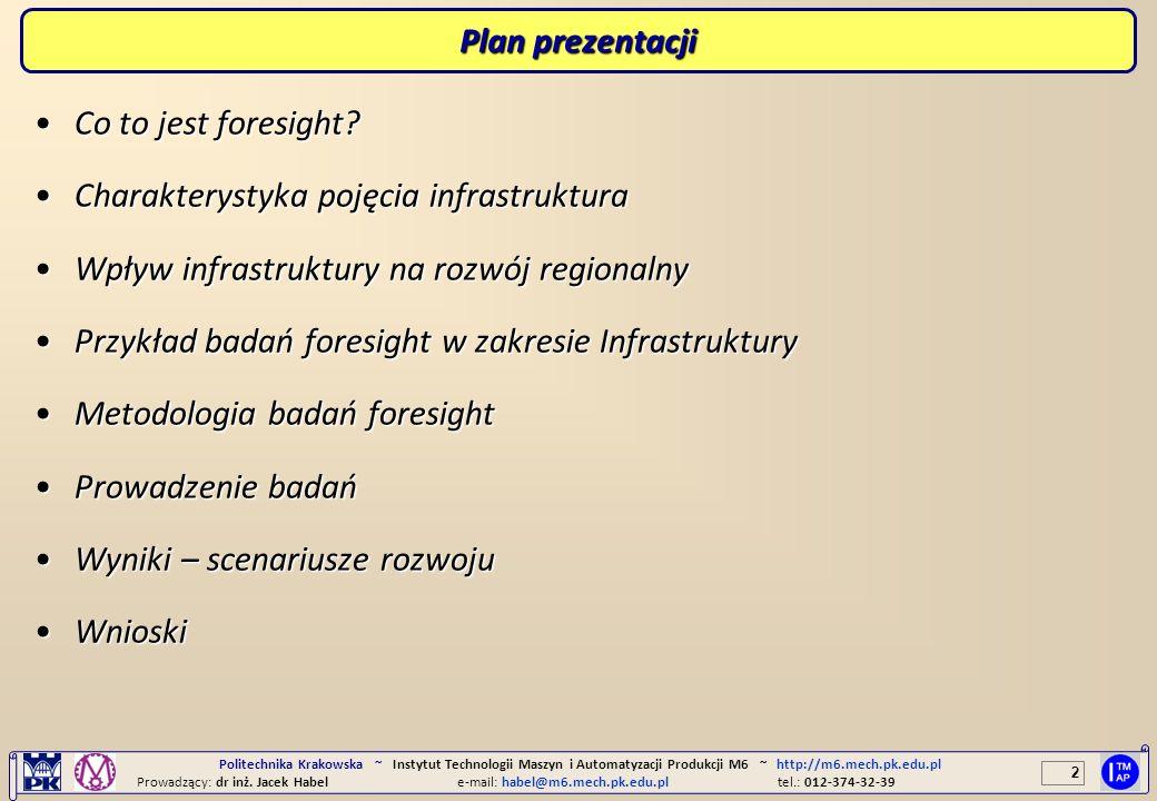 2 Politechnika Krakowska ~ Instytut Technologii Maszyn i Automatyzacji Produkcji M6 ~ http://m6.mech.pk.edu.pl Prowadzący: dr inż. Jacek Habele-mail: