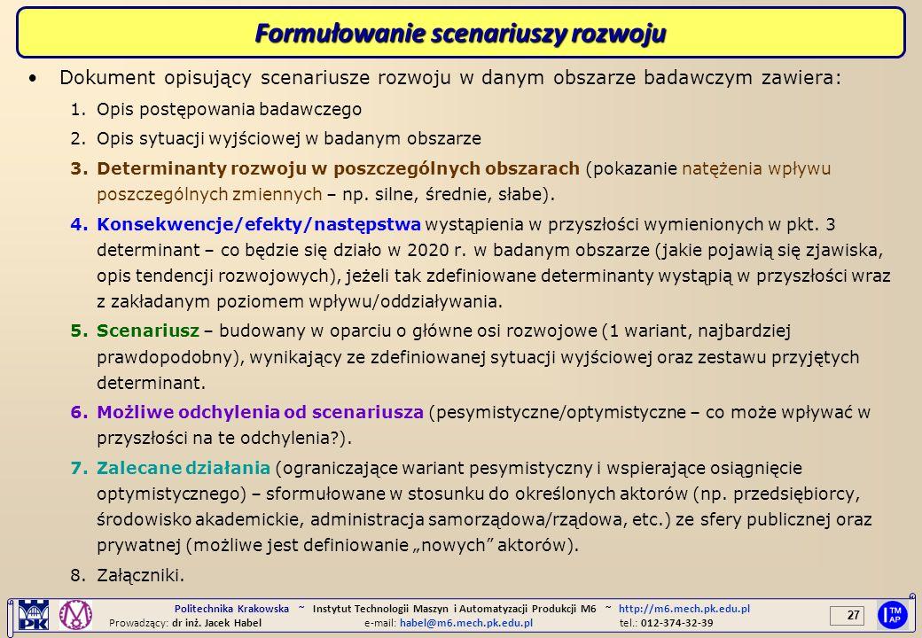 27 Politechnika Krakowska ~ Instytut Technologii Maszyn i Automatyzacji Produkcji M6 ~ http://m6.mech.pk.edu.pl Prowadzący: dr inż. Jacek Habele-mail: