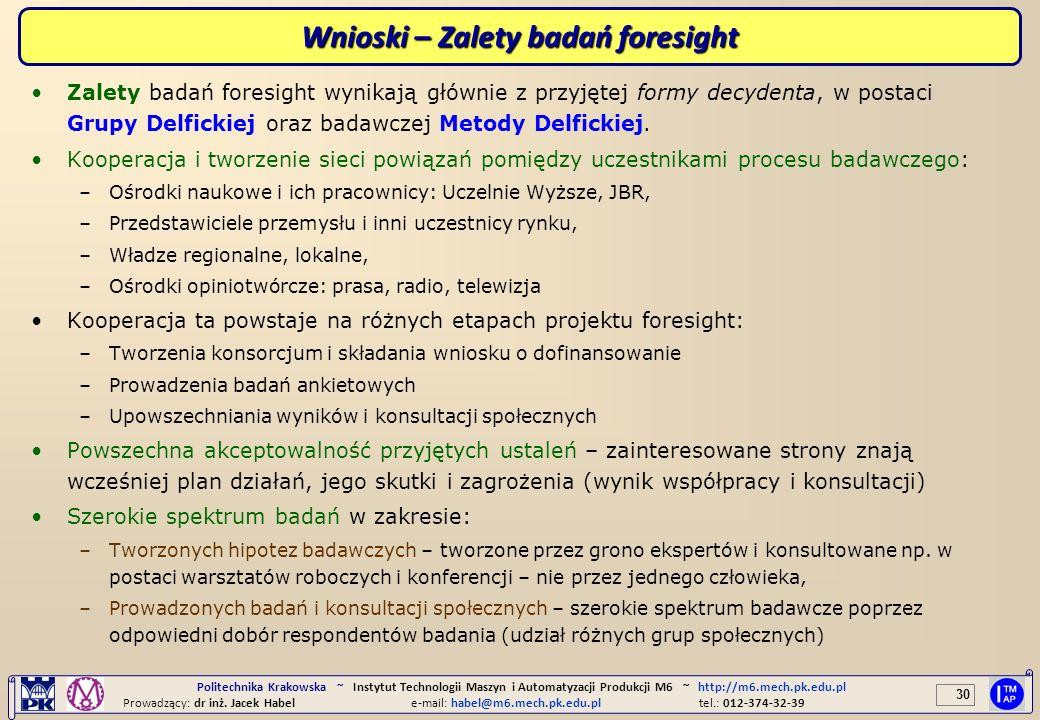 30 Politechnika Krakowska ~ Instytut Technologii Maszyn i Automatyzacji Produkcji M6 ~ http://m6.mech.pk.edu.pl Prowadzący: dr inż. Jacek Habele-mail: