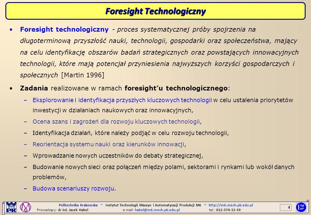 4 Politechnika Krakowska ~ Instytut Technologii Maszyn i Automatyzacji Produkcji M6 ~ http://m6.mech.pk.edu.pl Prowadzący: dr inż. Jacek Habele-mail: