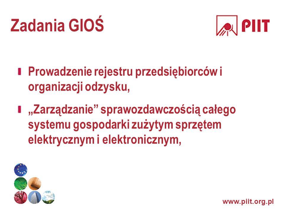 www.piit.org.pl Zadania GIOŚ Prowadzenie rejestru przedsiębiorców i organizacji odzysku, Zarządzanie sprawozdawczością całego systemu gospodarki zużyt