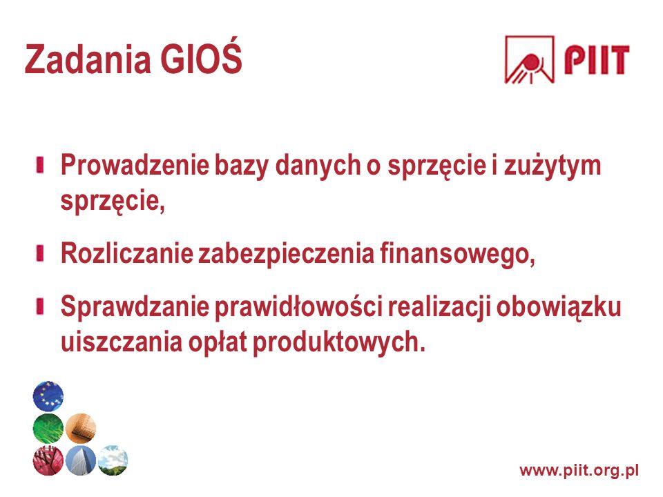 www.piit.org.pl Zadania GIOŚ Prowadzenie bazy danych o sprzęcie i zużytym sprzęcie, Rozliczanie zabezpieczenia finansowego, Sprawdzanie prawidłowości