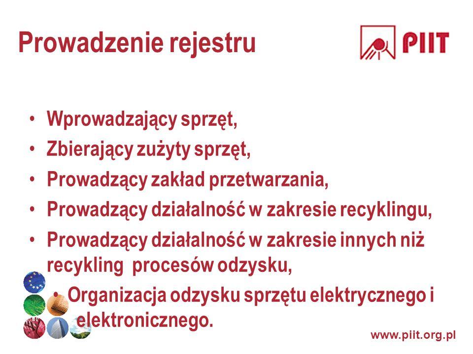www.piit.org.pl Prowadzenie rejestru Wprowadzający sprzęt, Zbierający zużyty sprzęt, Prowadzący zakład przetwarzania, Prowadzący działalność w zakresi