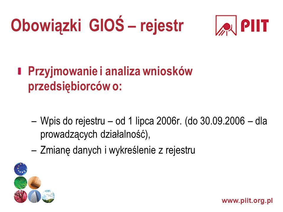 www.piit.org.pl Obowiązki GIOŚ – rejestr Przyjmowanie i analiza wniosków przedsiębiorców o: –Wpis do rejestru – od 1 lipca 2006r. (do 30.09.2006 – dla