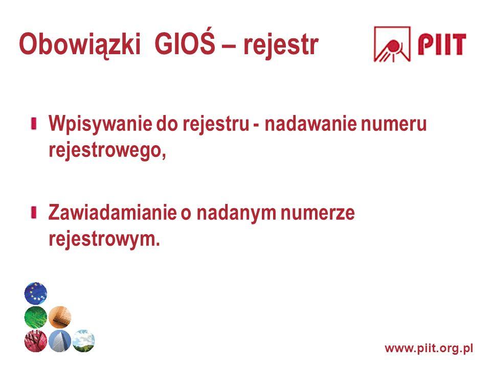 www.piit.org.pl Obowiązki GIOŚ – rejestr Wpisywanie do rejestru - nadawanie numeru rejestrowego, Zawiadamianie o nadanym numerze rejestrowym.