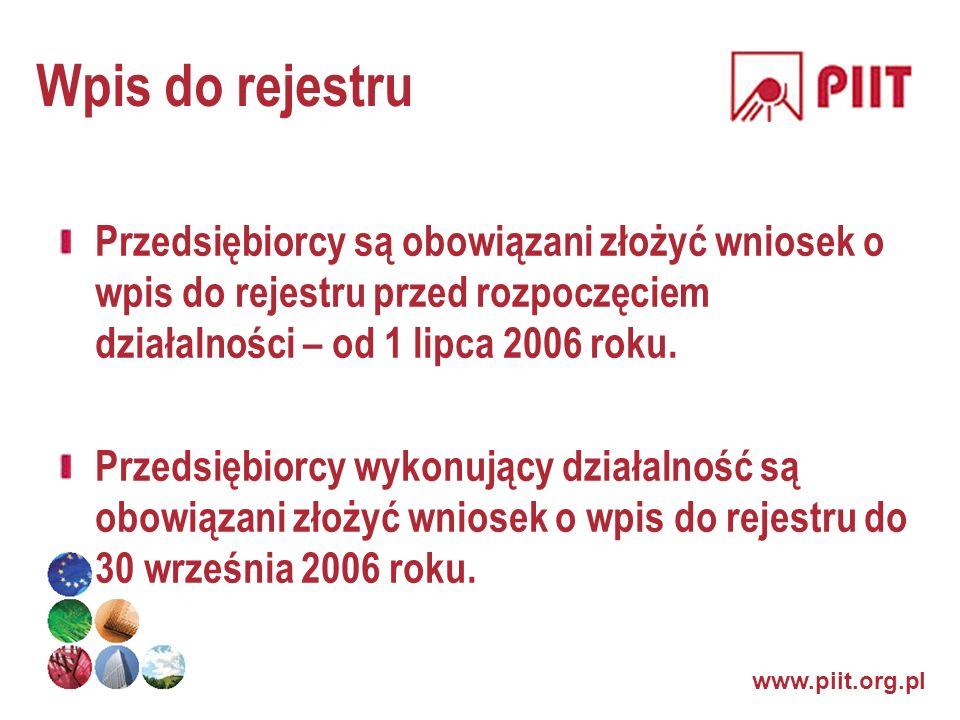 www.piit.org.pl Wpis do rejestru Przedsiębiorcy są obowiązani złożyć wniosek o wpis do rejestru przed rozpoczęciem działalności – od 1 lipca 2006 roku