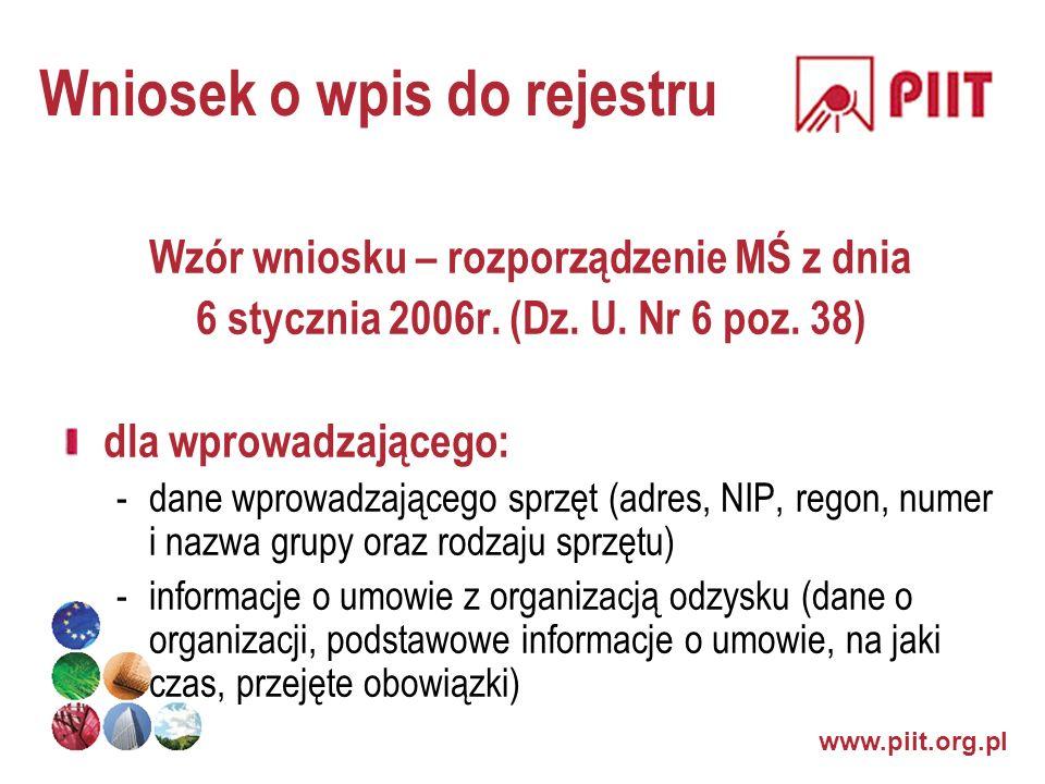 www.piit.org.pl Wniosek o wpis do rejestru Wzór wniosku – rozporządzenie MŚ z dnia 6 stycznia 2006r. (Dz. U. Nr 6 poz. 38) dla wprowadzającego: -dane