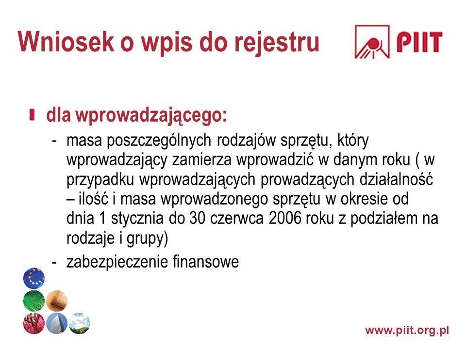 www.piit.org.pl Wniosek o wpis do rejestru dla wprowadzającego: -masa poszczególnych rodzajów sprzętu, który wprowadzający zamierza wprowadzić w danym