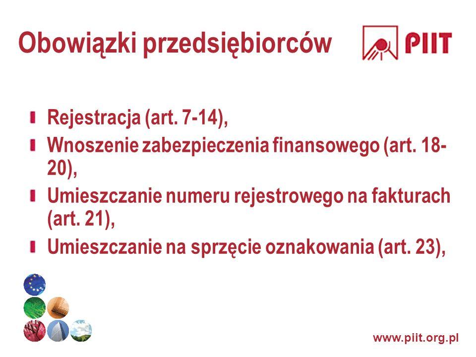 www.piit.org.pl Obowiązki przedsiębiorców Rejestracja (art. 7-14), Wnoszenie zabezpieczenia finansowego (art. 18- 20), Umieszczanie numeru rejestroweg