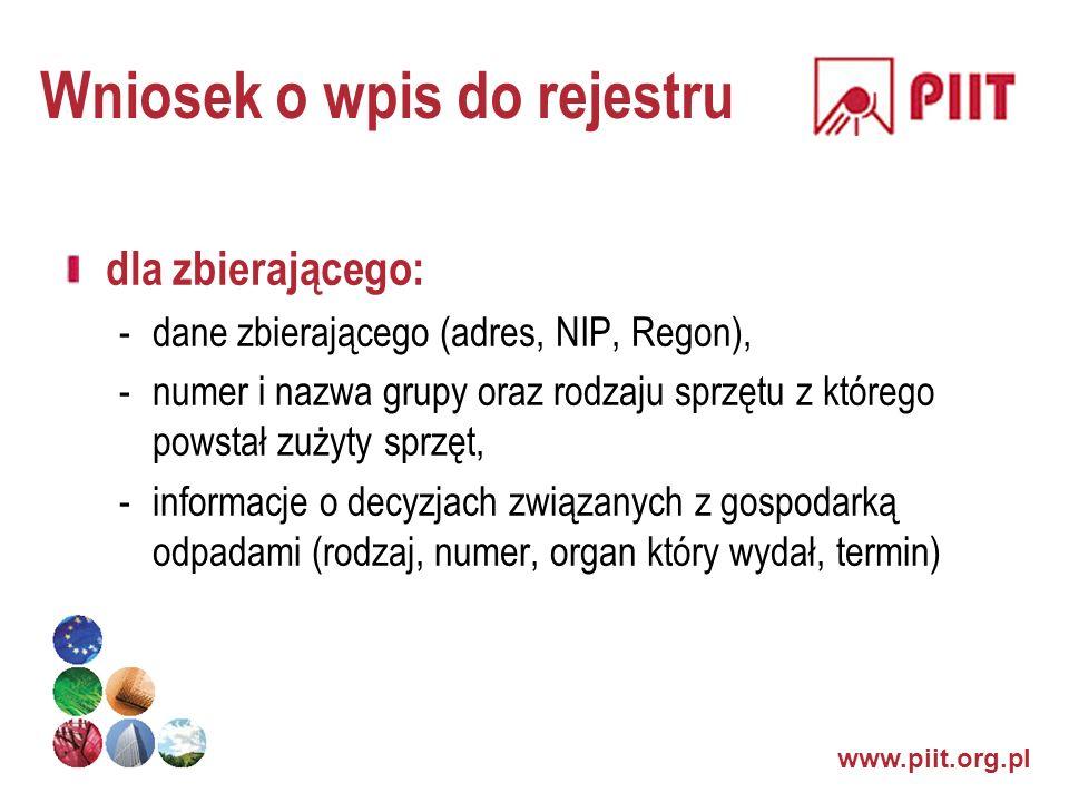 Wniosek o wpis do rejestru dla zbierającego: -dane zbierającego (adres, NIP, Regon), -numer i nazwa grupy oraz rodzaju sprzętu z którego powstał zużyt