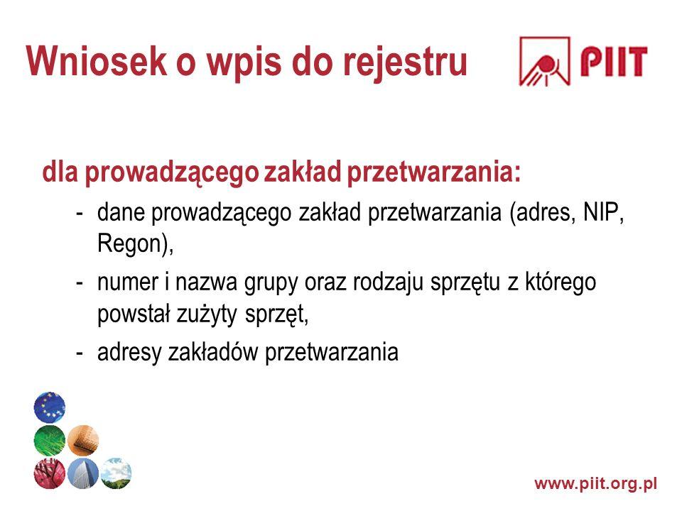 Wniosek o wpis do rejestru dla prowadzącego zakład przetwarzania: -dane prowadzącego zakład przetwarzania (adres, NIP, Regon), -numer i nazwa grupy or