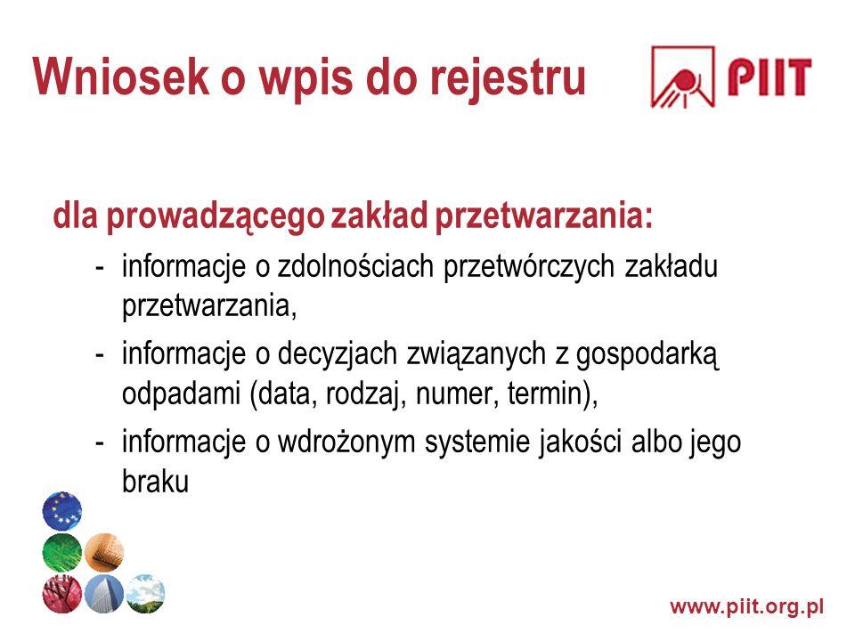 www.piit.org.pl Wniosek o wpis do rejestru dla prowadzącego zakład przetwarzania: -informacje o zdolnościach przetwórczych zakładu przetwarzania, -inf