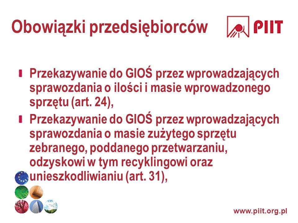 www.piit.org.pl Obowiązki przedsiębiorców Przekazywanie do GIOŚ przez wprowadzających sprawozdania o ilości i masie wprowadzonego sprzętu (art. 24), P