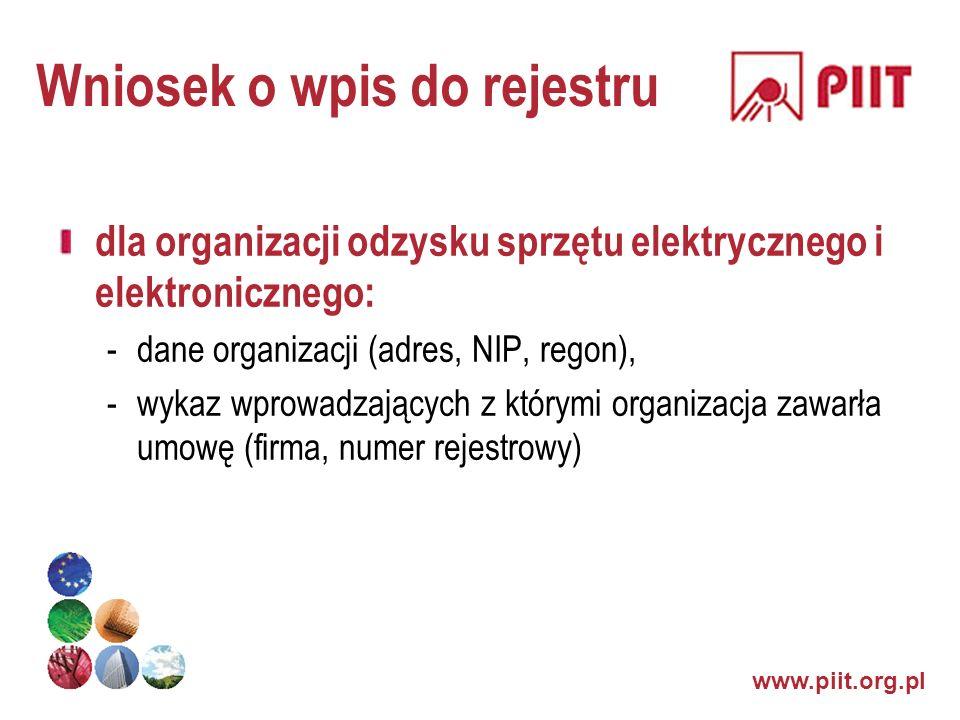 Wniosek o wpis do rejestru dla organizacji odzysku sprzętu elektrycznego i elektronicznego: -dane organizacji (adres, NIP, regon), -wykaz wprowadzając