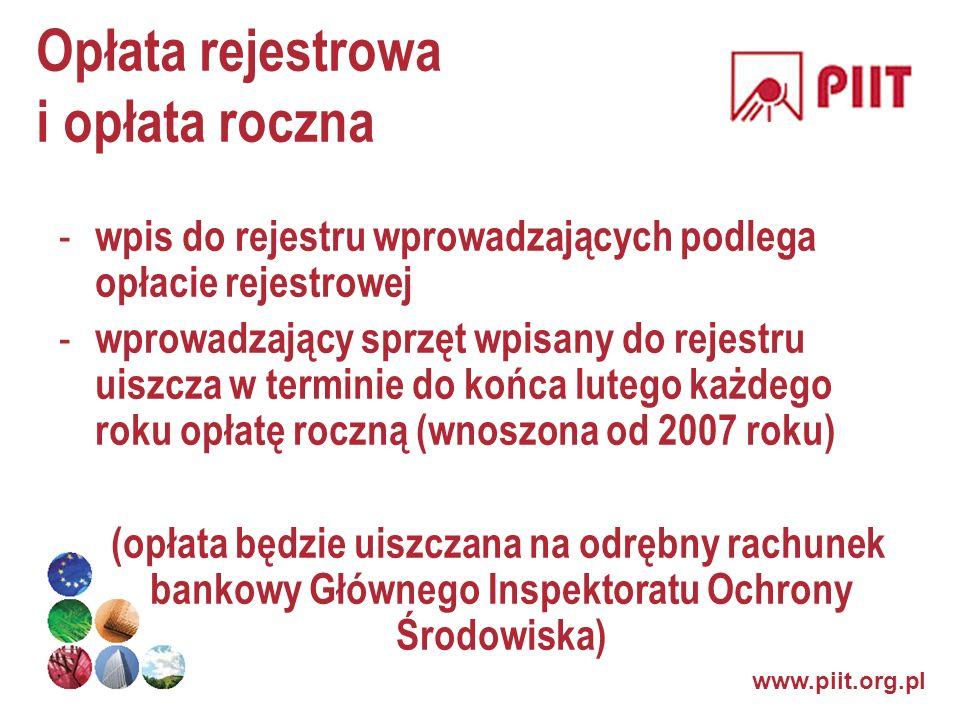 www.piit.org.pl Opłata rejestrowa i opłata roczna - wpis do rejestru wprowadzających podlega opłacie rejestrowej - wprowadzający sprzęt wpisany do rej