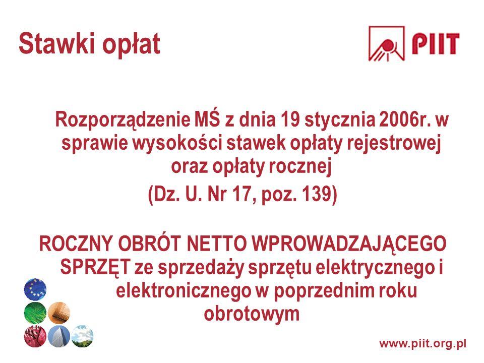 www.piit.org.pl Stawki opłat Rozporządzenie MŚ z dnia 19 stycznia 2006r. w sprawie wysokości stawek opłaty rejestrowej oraz opłaty rocznej (Dz. U. Nr
