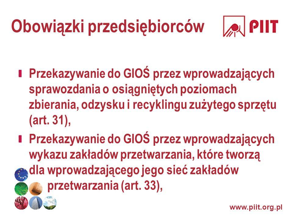 www.piit.org.pl Obowiązki przedsiębiorców Przekazywanie do GIOŚ przez wprowadzających sprawozdania o osiągniętych poziomach zbierania, odzysku i recyk