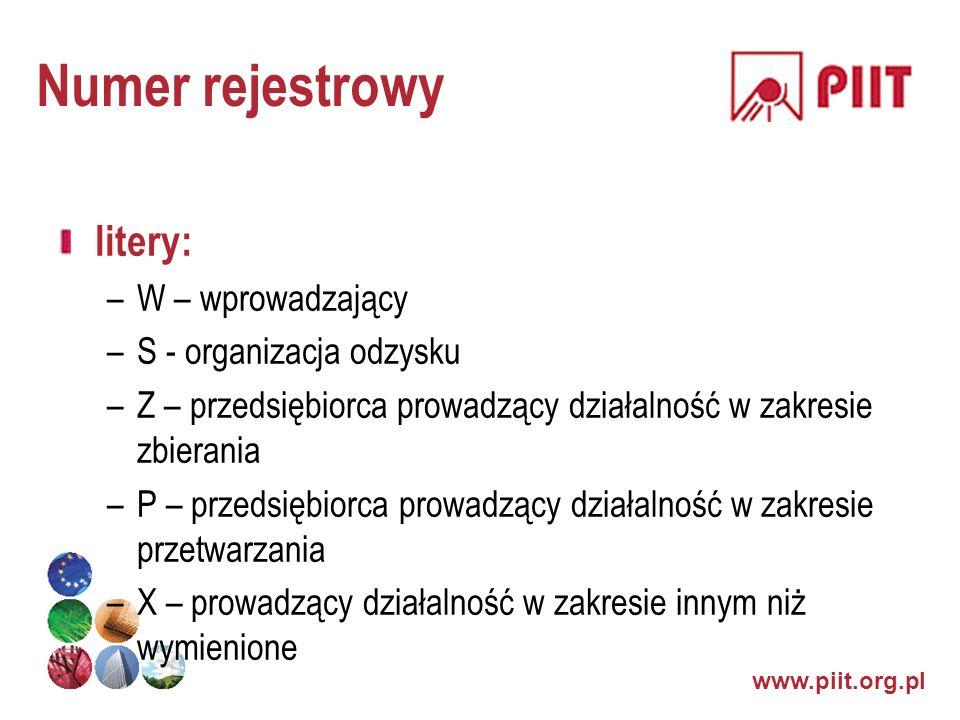 www.piit.org.pl Numer rejestrowy litery: –W – wprowadzający –S - organizacja odzysku –Z – przedsiębiorca prowadzący działalność w zakresie zbierania –