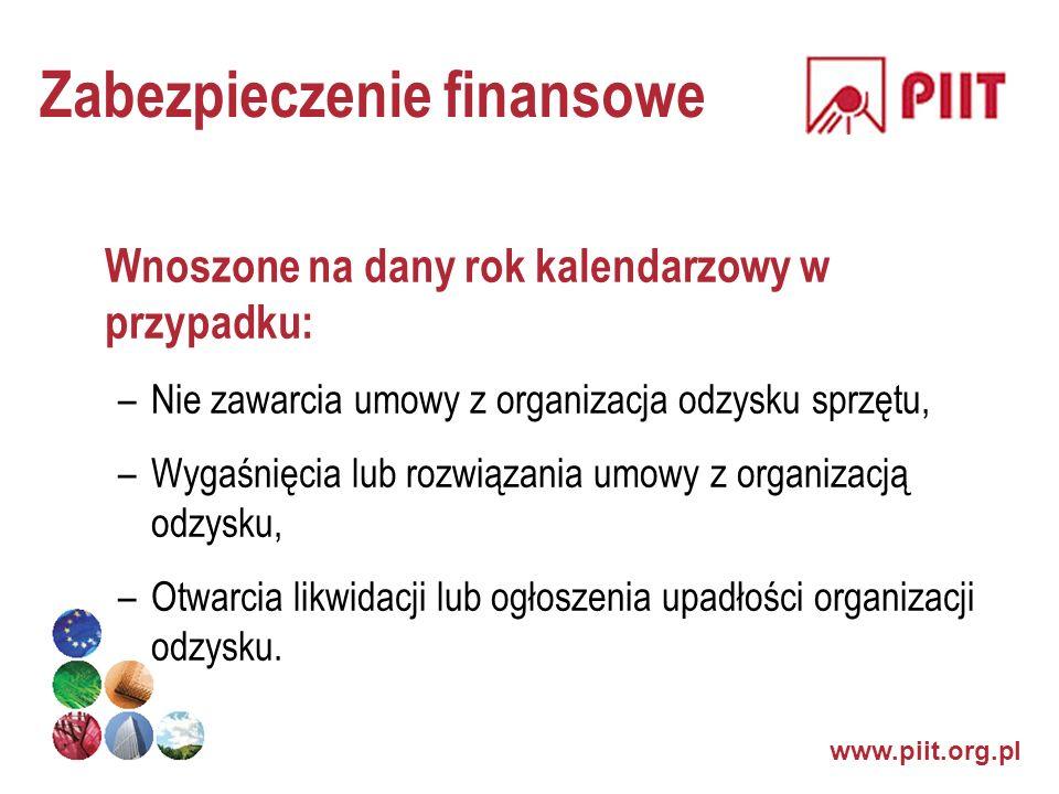 www.piit.org.pl Zabezpieczenie finansowe Wnoszone na dany rok kalendarzowy w przypadku: –Nie zawarcia umowy z organizacja odzysku sprzętu, –Wygaśnięci