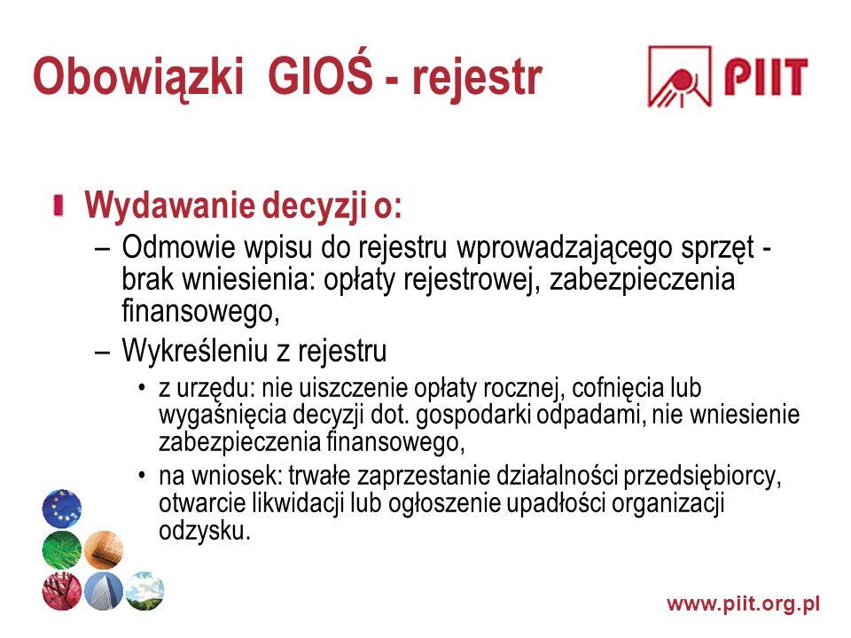 www.piit.org.pl Obowiązki GIOŚ - rejestr Wydawanie decyzji o: –Odmowie wpisu do rejestru wprowadzającego sprzęt - brak wniesienia: opłaty rejestrowej,