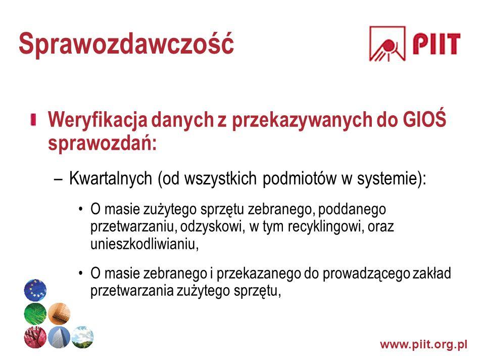 www.piit.org.pl Sprawozdawczość Weryfikacja danych z przekazywanych do GIOŚ sprawozdań: –Kwartalnych (od wszystkich podmiotów w systemie): O masie zuż