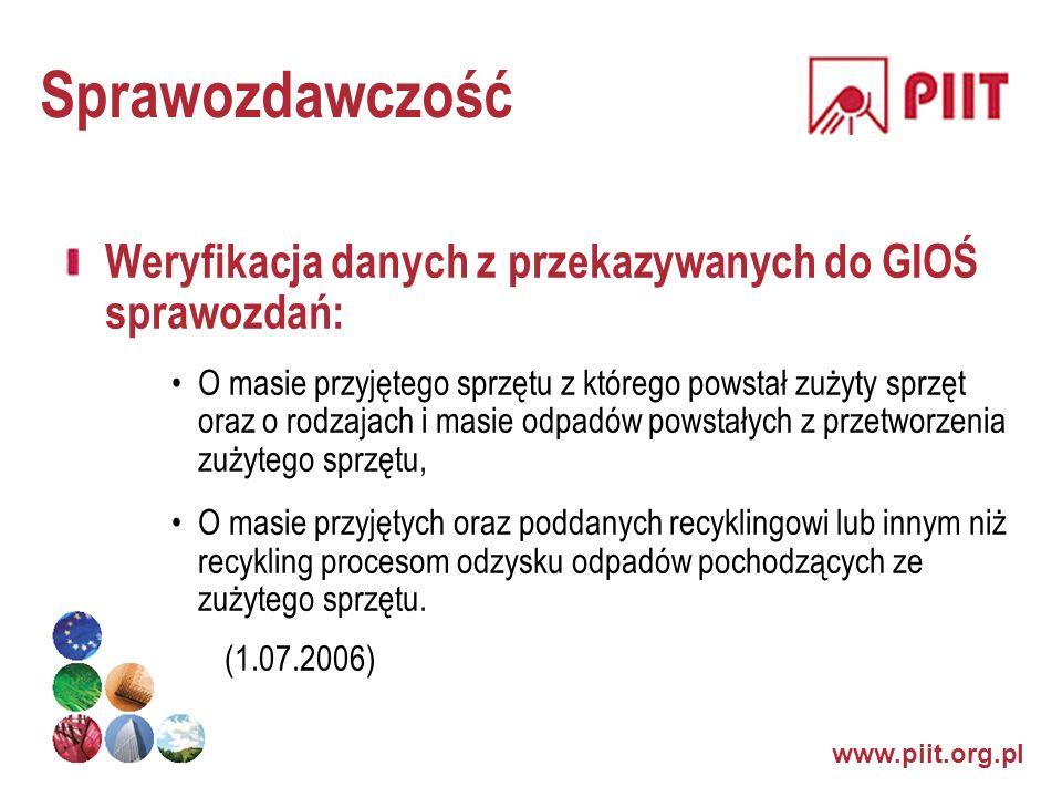 www.piit.org.pl Sprawozdawczość Weryfikacja danych z przekazywanych do GIOŚ sprawozdań: O masie przyjętego sprzętu z którego powstał zużyty sprzęt ora