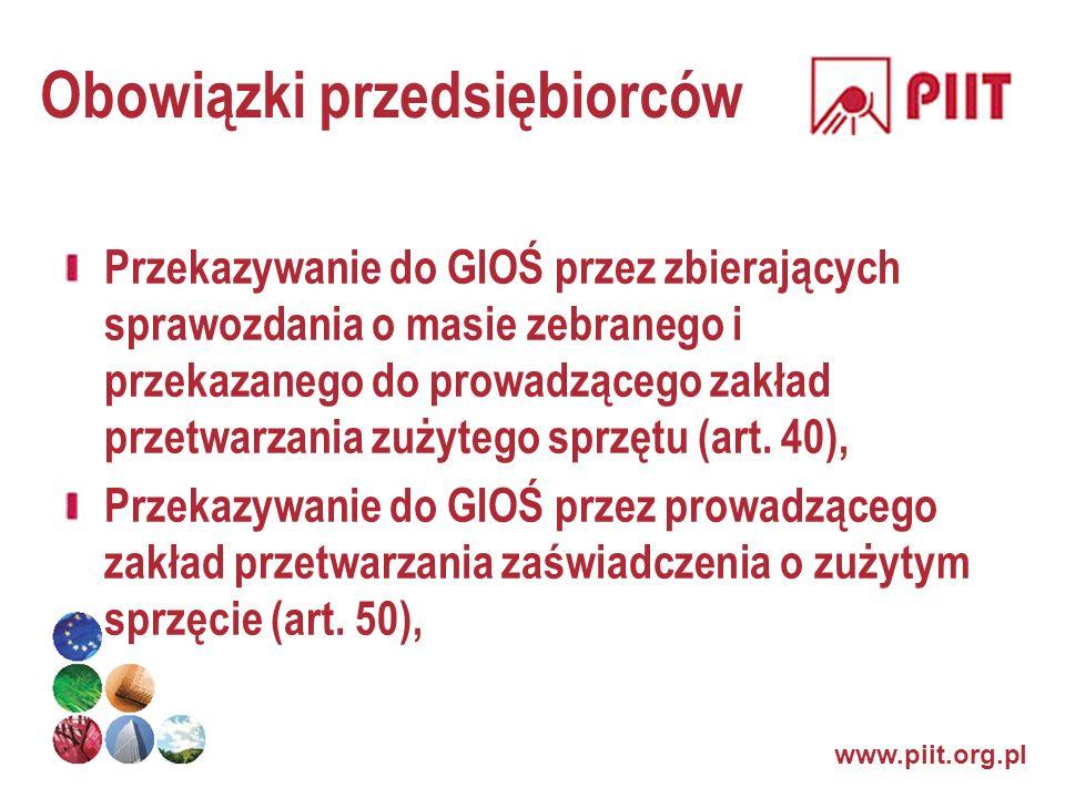 www.piit.org.pl Obowiązki przedsiębiorców Przekazywanie do GIOŚ przez zbierających sprawozdania o masie zebranego i przekazanego do prowadzącego zakła