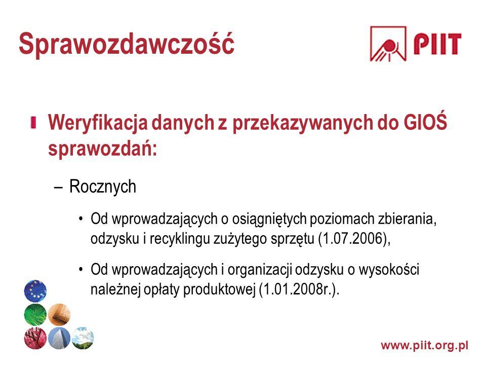 www.piit.org.pl Sprawozdawczość Weryfikacja danych z przekazywanych do GIOŚ sprawozdań: –Rocznych Od wprowadzających o osiągniętych poziomach zbierani