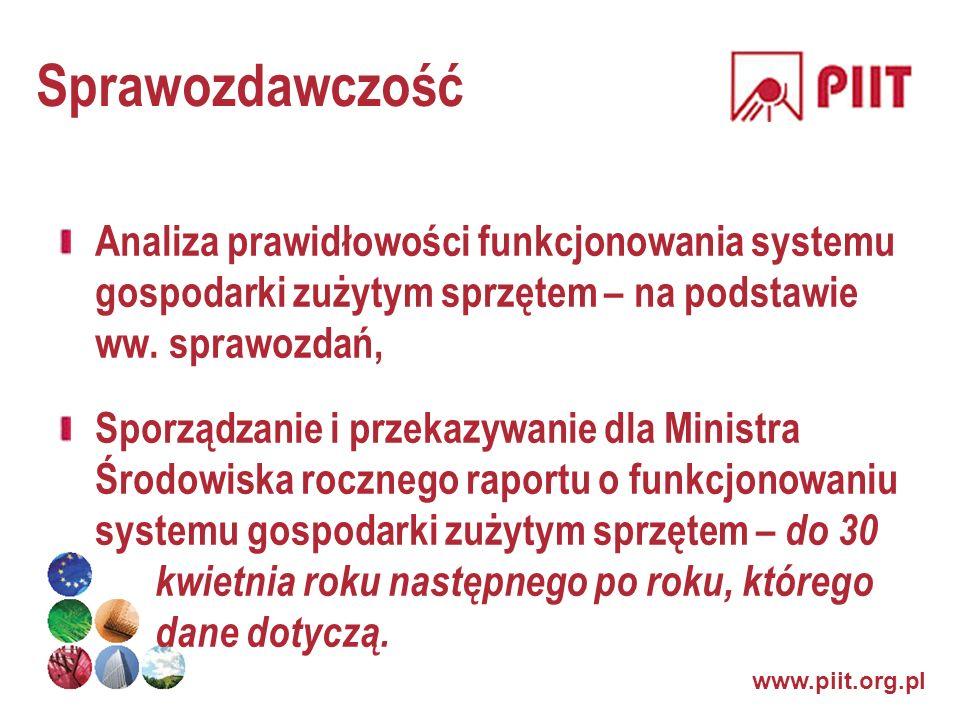 www.piit.org.pl Sprawozdawczość Analiza prawidłowości funkcjonowania systemu gospodarki zużytym sprzętem – na podstawie ww. sprawozdań, Sporządzanie i