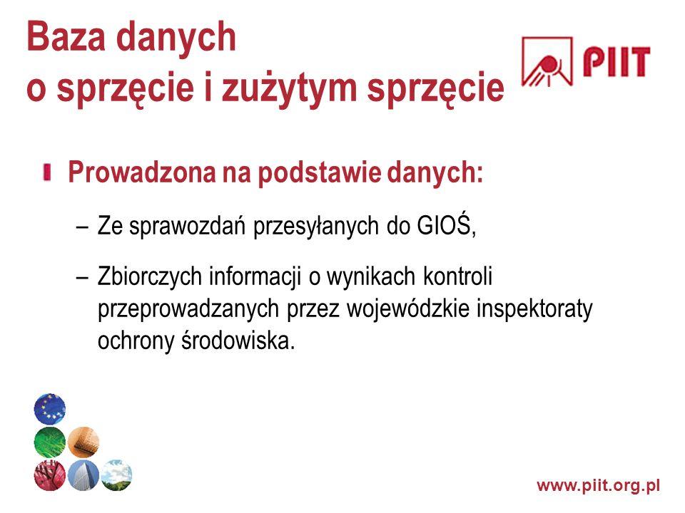 www.piit.org.pl Baza danych o sprzęcie i zużytym sprzęcie Prowadzona na podstawie danych: –Ze sprawozdań przesyłanych do GIOŚ, –Zbiorczych informacji