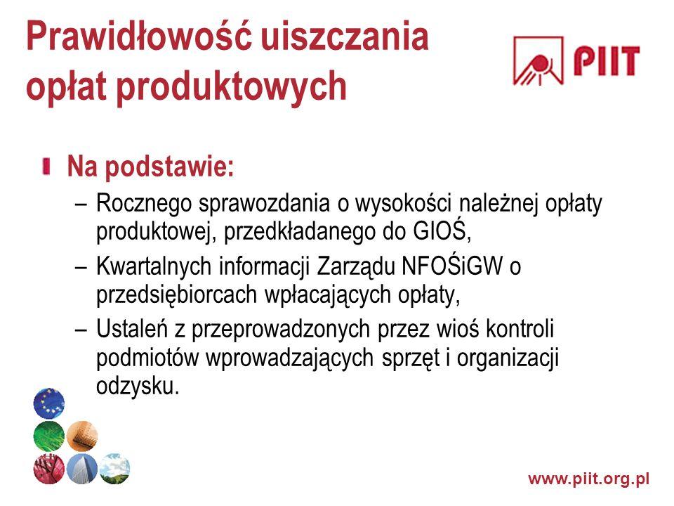 www.piit.org.pl Prawidłowość uiszczania opłat produktowych Na podstawie: –Rocznego sprawozdania o wysokości należnej opłaty produktowej, przedkładaneg