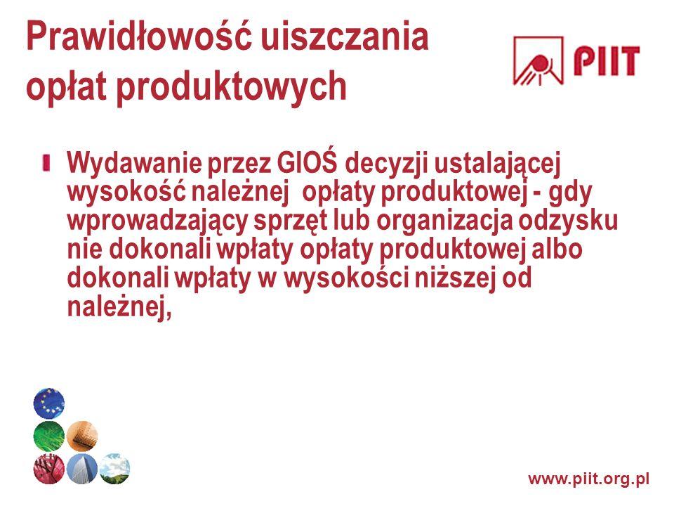 www.piit.org.pl Prawidłowość uiszczania opłat produktowych Wydawanie przez GIOŚ decyzji ustalającej wysokość należnej opłaty produktowej - gdy wprowad