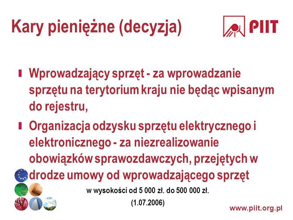 www.piit.org.pl Kary pieniężne (decyzja) Wprowadzający sprzęt - za wprowadzanie sprzętu na terytorium kraju nie będąc wpisanym do rejestru, Organizacj