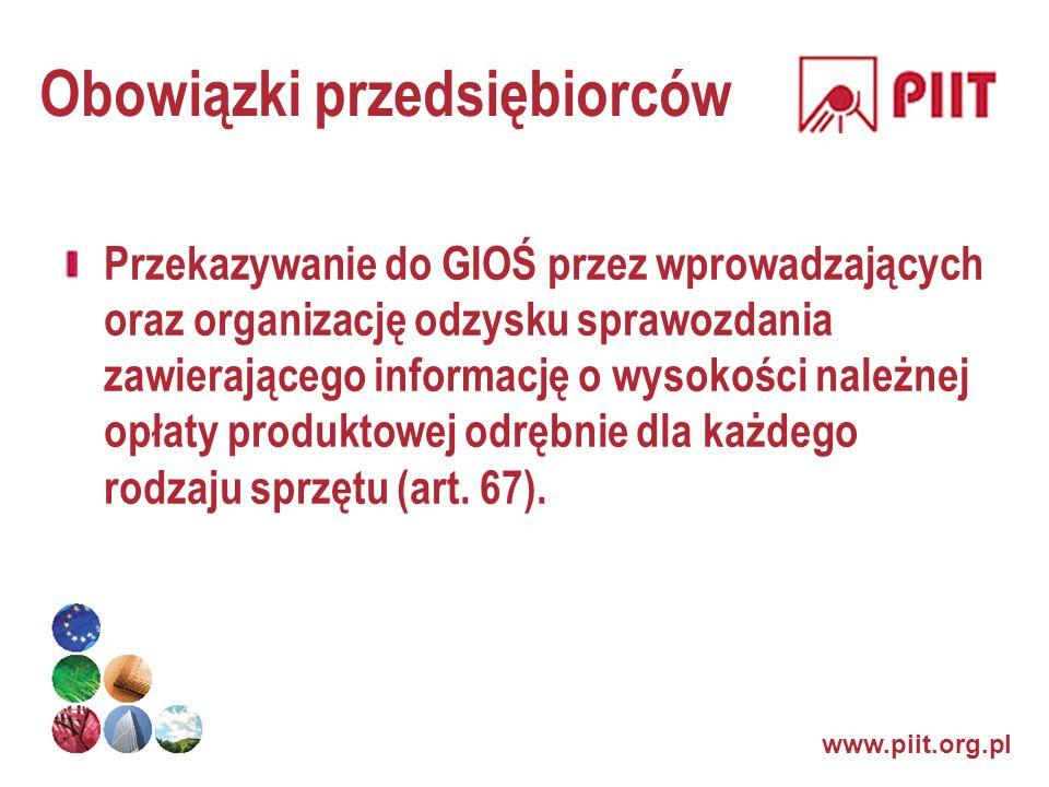 www.piit.org.pl Obowiązki przedsiębiorców Przekazywanie do GIOŚ przez wprowadzających oraz organizację odzysku sprawozdania zawierającego informację o