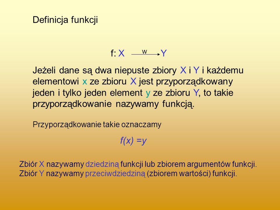Definicja funkcji f: X Y Jeżeli dane są dwa niepuste zbiory X i Y i każdemu elementowi x ze zbioru X jest przyporządkowany jeden i tylko jeden element y ze zbioru Y, to takie przyporządkowanie nazywamy funkcją.