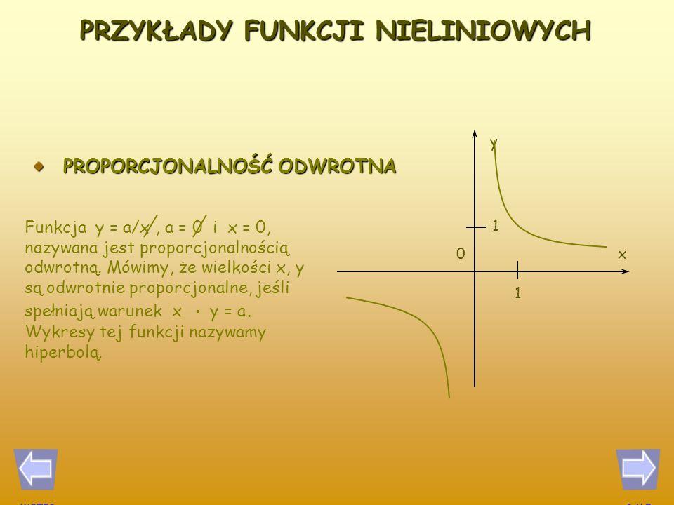 PROPORCJONALNOŚĆ PROSTA 1 1 0x y Jeżeli we wzorze określającym funkcję liniową y = ax + b mamy a = 0 oraz b = 0, to wzór ten opisuje proporcjonalność