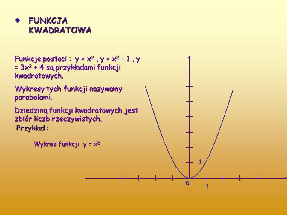 PRZYKŁADY FUNKCJI NIELINIOWYCH PROPORCJONALNOŚĆ ODWROTNA Funkcja y = a/x, a = 0 i x = 0, nazywana jest proporcjonalnością odwrotną. Mówimy, że wielkoś