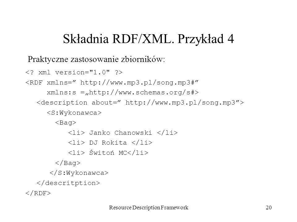 Resource Description Framework20 Składnia RDF/XML. Przykład 4 <RDF xmlns= http://www.mp3.pl/song.mp3# xmlns:s =http://www.schemas.org/s#> Janko Chanow