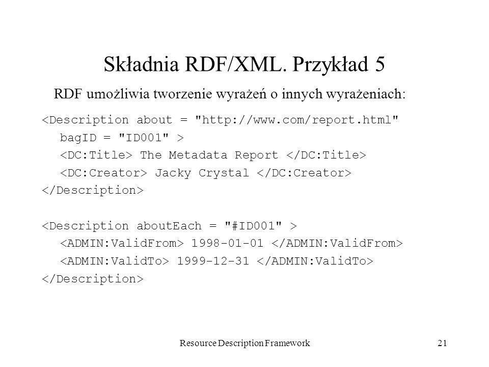 Resource Description Framework21 Składnia RDF/XML. Przykład 5 <Description about =